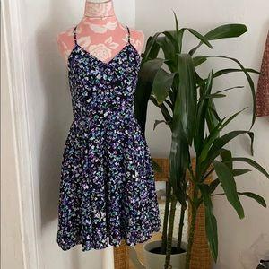 Express Black Floral Skater Fit & Flare Dress 6